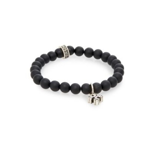 King Baby Studio - Onyx Beaded & Sterling Silver Cross Bracelet