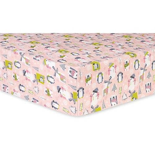 Trend Lab Snow Pals Deluxe Flannel Fitted Crib Sheet in Pink