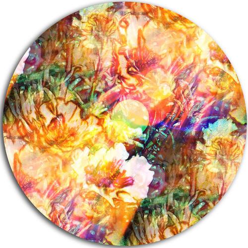 Designart 'Bokeh Flowers Seamless' Floral Glossy Metal Wall Art
