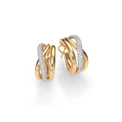 Diamond, 18K White & Yellow Gold Crossover J-Hoop Earrings