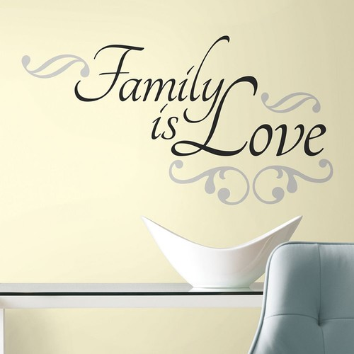 RoomMates Family Is Love Peel and Stick Wall Decal, Black