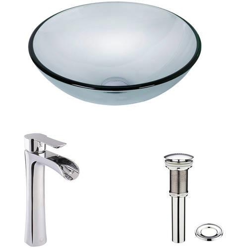 VIGO Vessel Glass Bathroom Sink in Crystalline and Niko Faucet Set in Chrome
