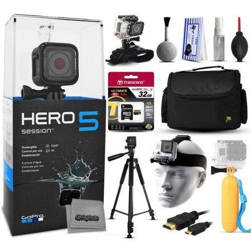 GoPro HERO5 Session + 32GB Tripod Case HDMI Wrist/Head Strap Bobber