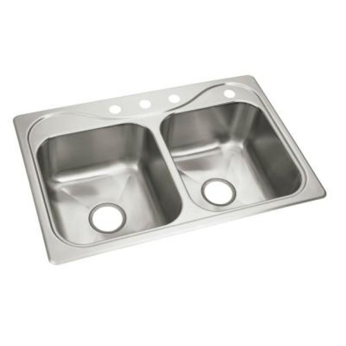 STERLING Southhaven X Self-Rimming Stainless Steel 33 in. 4-Hole Double Bowl Kitchen Sink