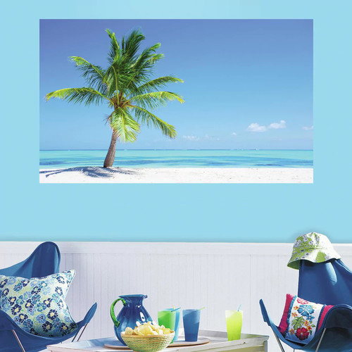 RoomMates 60 in. W x 36 in. H Palm Tree 2- Piece Peel and Stick Wall Decal Mural