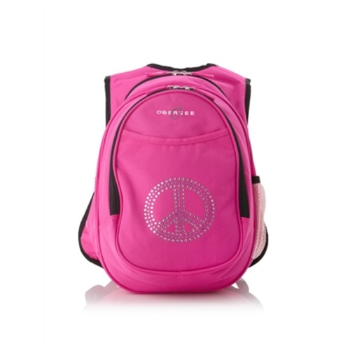 Obersee Kids Pre-School All-In-One Backpack With Cooler - Bling Rhinestone Peace