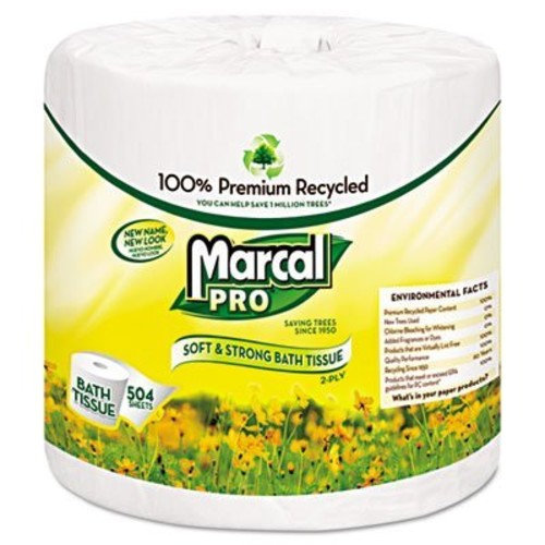 Marcal Pro Toilet Paper 100% Recycled - 2 Ply, White Bath Tissue, 504 Sheets Per Roll - 48 Individually Wrapped Rolls Per Case Green Seal Certified Toilet Paper 05001 [Roll is 4-3/10 Inch Wide]
