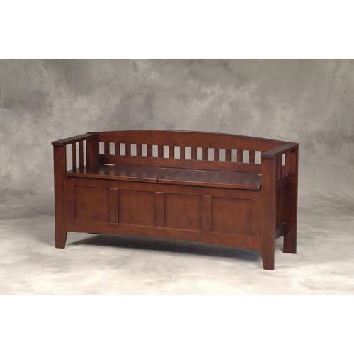 Linon Rubberwood Veneers Short-Split Seat Storage Bench; Walnut