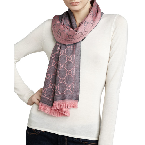 GUCCI Logo-Print Wool Scarf, Graphite/Pink