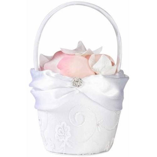 Lillian Rose White Lace Flower Girl Basket