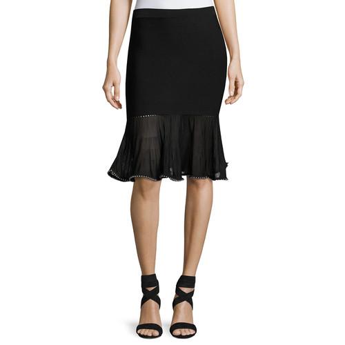 ALEXANDER WANG Flounce Skirt With Ball Chain Hem, Black
