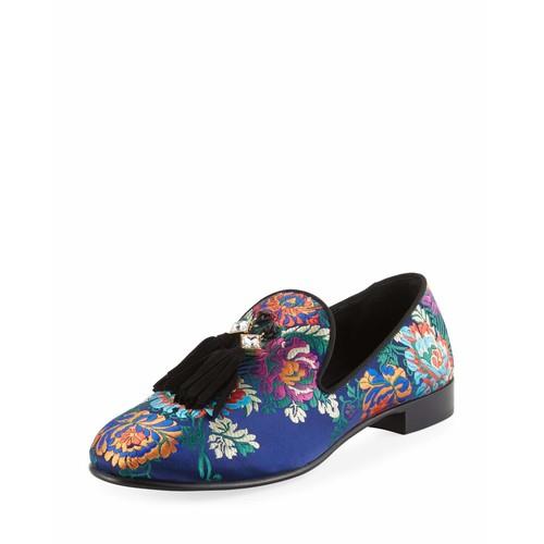 GIUSEPPE ZANOTTI Floral Embroidered Tassel Loafer