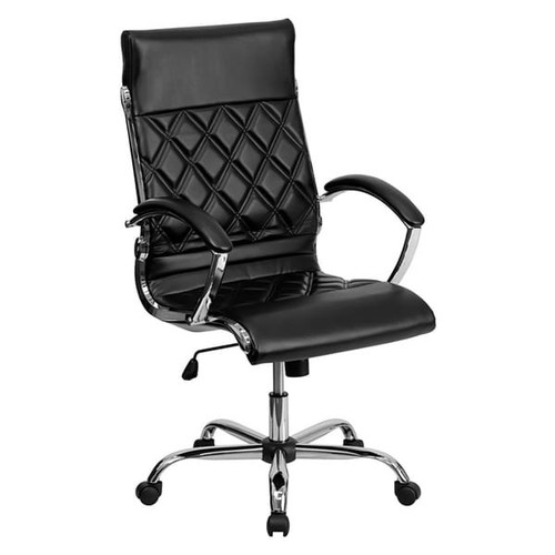 Offex High Back Designer Black Leather Executive Office Chair with Chrome Base [GO-1297H-HIGH-BK-GG]