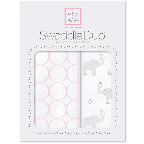 SwaddleDesigns SwaddleDuo - Mod Elephant & Chickies - Pastel Pink