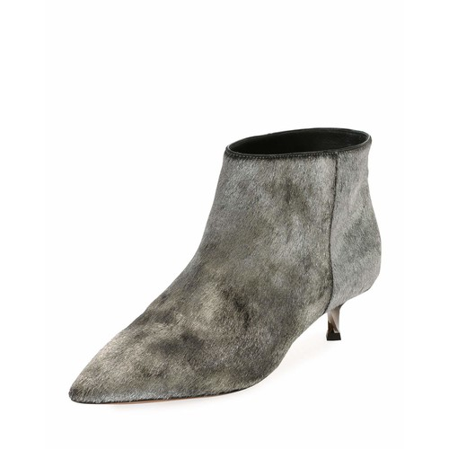 VALENTINO Twist Heel Low Fur Ankle Boot, Silver