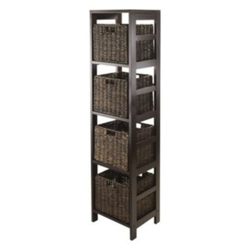 Granville Espresso Storage Tower Shelf with Four Foldable Baskets