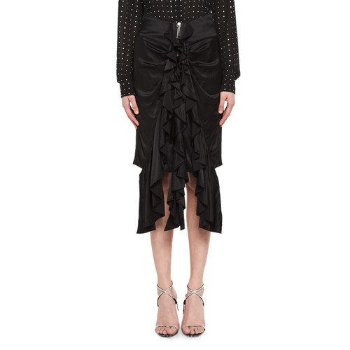 SAINT LAURENT Silk Satin Ruffle-Front Skirt