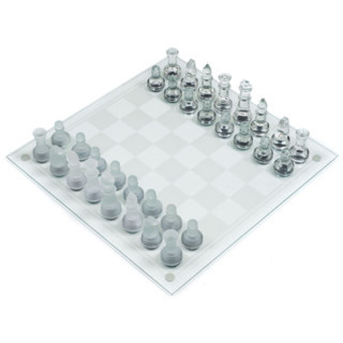 Trademark Games Elegant Glass Chess and Checker Board Set Clear & Frosted