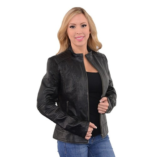 Woman's Zip-front Stand-up Collar Leather Scuba Jacket