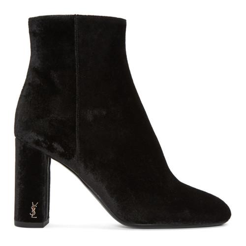 SAINT LAURENT Black Velvet Loulou Zipped Boots