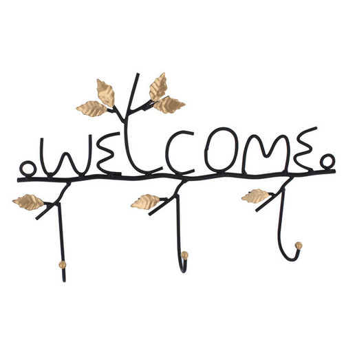 Ikee Design 'Welcome' Wall-mounted 3-hook Hanging Organizer [option : Black]