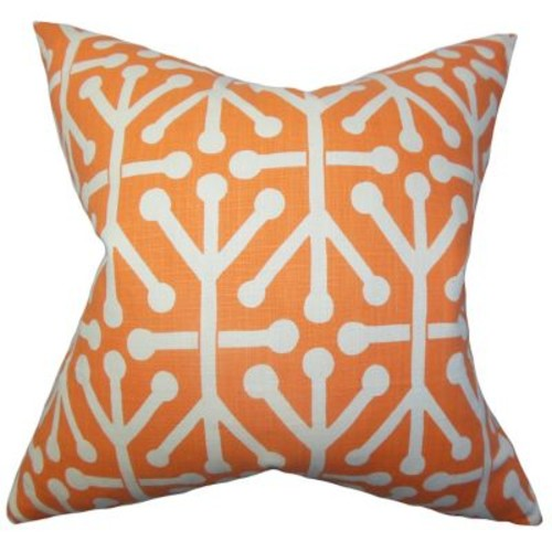 The Pillow Collection Heath Geometric Cotton Throw Pillow Cover; Orange