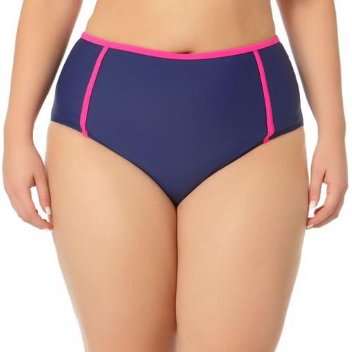 Juniors' Plus Size In Mocean Tummy-Slimmer High-Waisted Bikini Bottoms