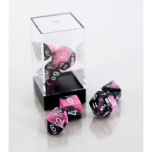 Gemini Polyhedral 7-Die Set - Black and Pink with White
