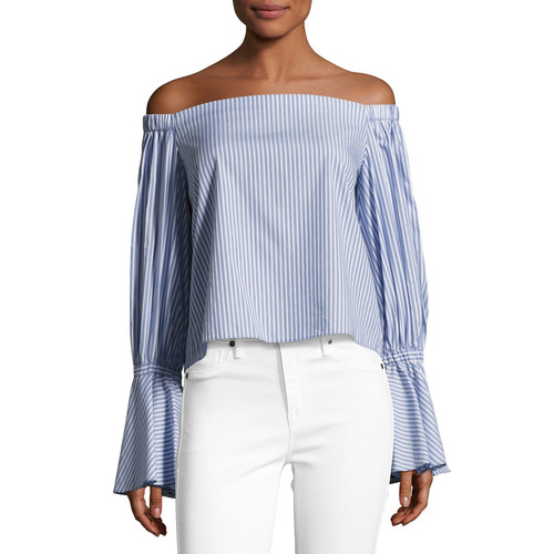 ALEXIS Juniper Striped Off-The-Shoulder Top, Blue/White
