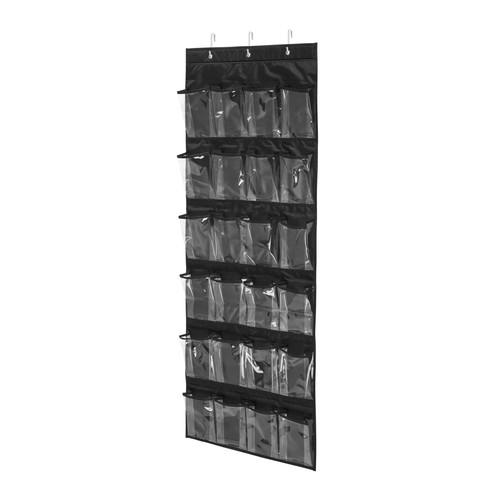 Honey-Can-Do 24-Pocket Over-Door Shoe Organizer- Black