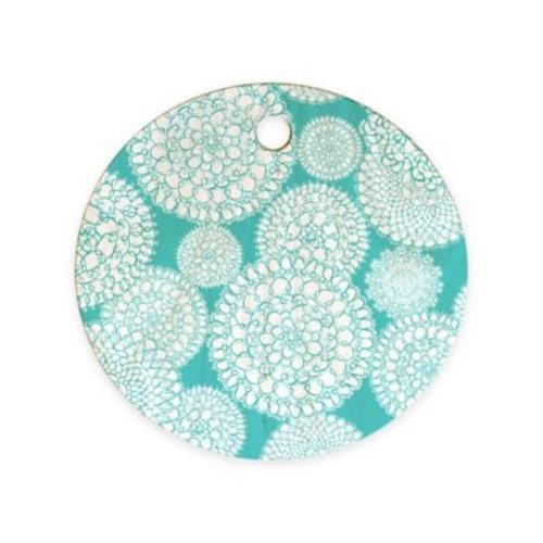 Deny Designs Delightful Doilies Round Cutting Board in Tiffany Blue