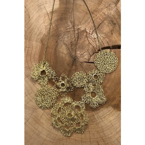 Gold Hand-Crocheted Necklace