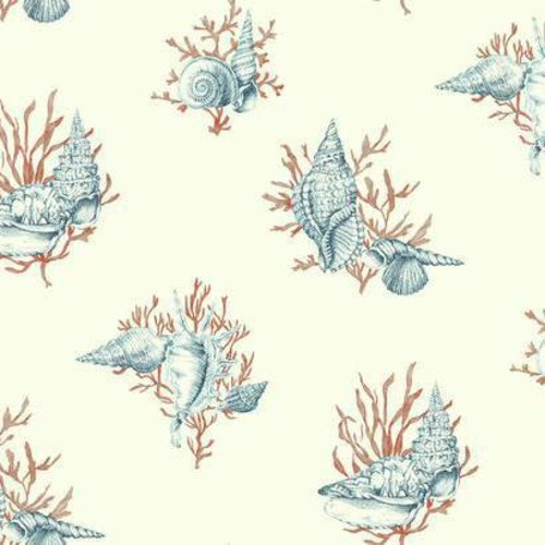 Sample Shell Toile Wallpaper in Blue and Orange by Ashford House for York Wallcoverings