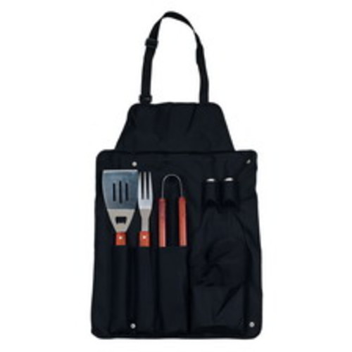 Chef Buddy 7-Piece BBQ Black Apron and Utensil Set