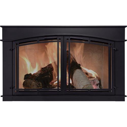 Pleasant Hearth Fieldcrest Fireplace Glass Door  Black,