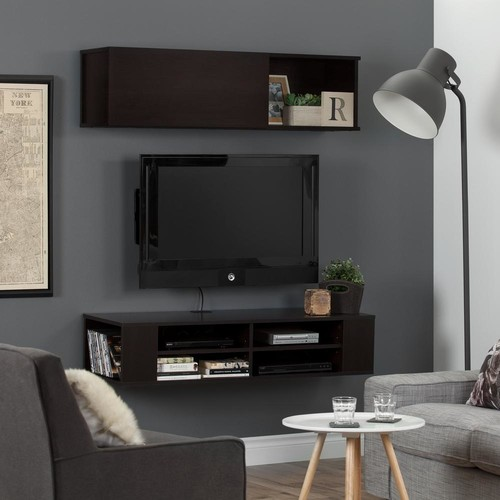 South Shore City Life Chocolate 48 in. Wall Mounted Media Console and Storage Unit