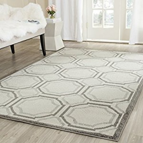 Safavieh Amherst Collection AMT411E Ivory and Light Grey Indoor/ Outdoor Square Area Rug