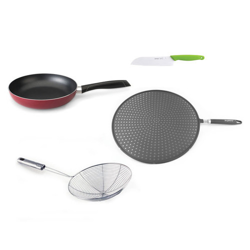 Geminis Red Pan, Splatter Screen, Skimmer and Ceramic Knife 4-piece Stir-fry Set
