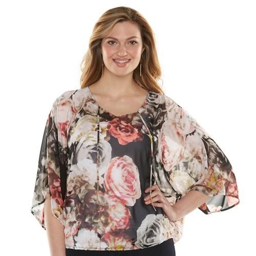 Plus Size Jennifer Lopez Printed Kimono Top