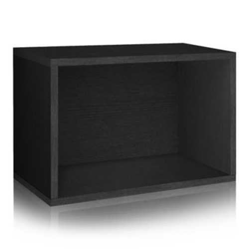 Way Basics Eco Stackable Large Rectangle Shelf and Storage Organizer, Black