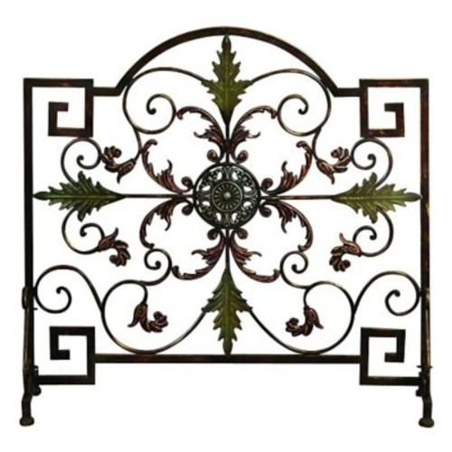 Cole & Grey Single Panel Metal Fireplace Screen