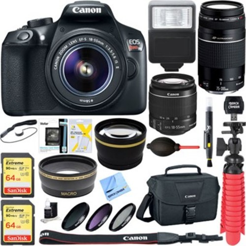 Canon EOS Rebel T6 Digital SLR Camera w/ EF-S 18-55mm IS + EF-S 75-300mm Lens Bundle