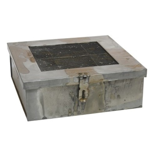 Aged Galvanized Metal Box with Hinged Lid and Compartments - Gray - Stonebriar
