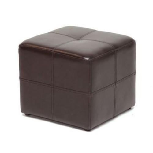 Baxton Studio Nox Brown Leather Ottoman [Dark Brown, Small]