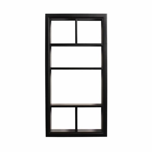 Designovation Corri 6 White/Black Wood Divided Cubby Wall Shelf - Black