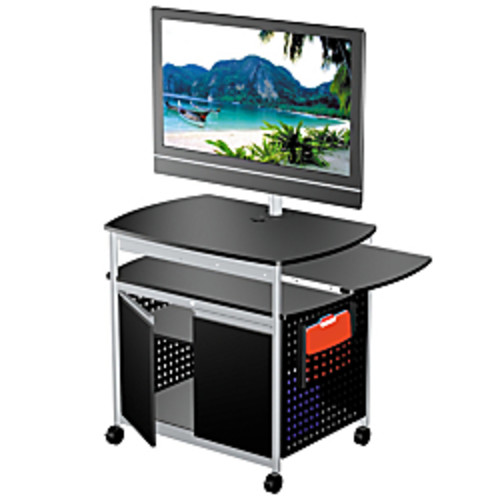 Safco Scoot Mobile Audio/Visual Cart, With Cabinet, Black