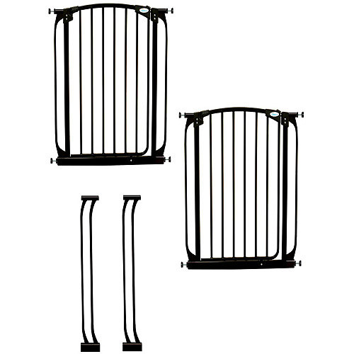 Dreambaby Chelsea 40 in. H Extra Tall Auto-Close Security Gate in Black Value Pack with 2 Gates and 2 Extensions
