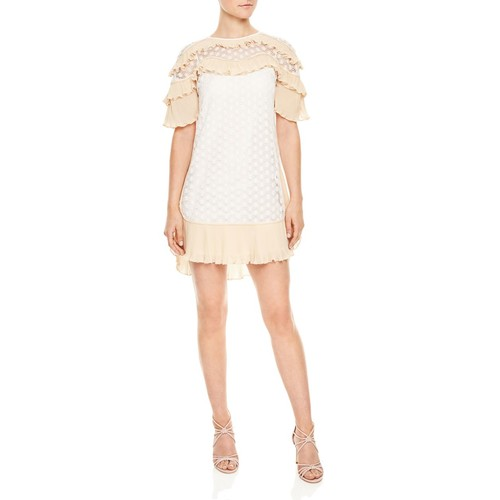 SANDRO Bohemian Ruffled Lace Dress