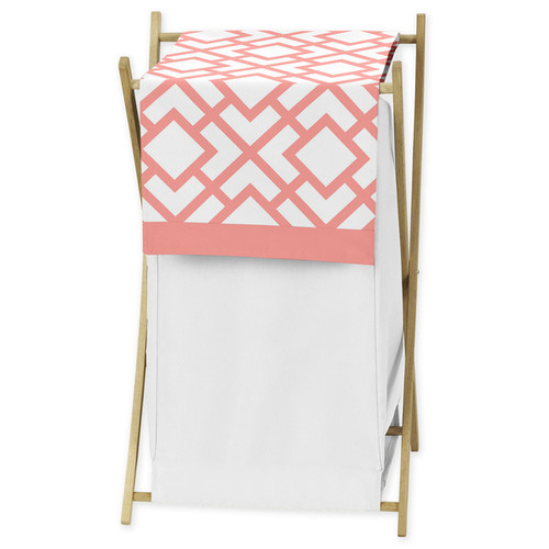 Sweet Jojo Designs White and Coral Mod Diamond Collection Laundry Hamper