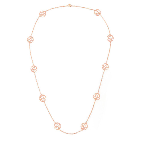 2-Initial Monogram Station Necklace, Rose Gold, 34
